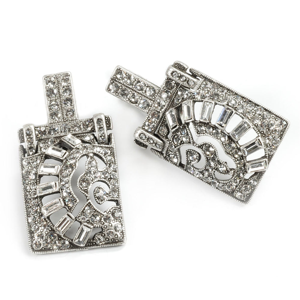 Art Deco Vintage Marquee Crystal Earrings E112 - sweetromanceonlinejewelry