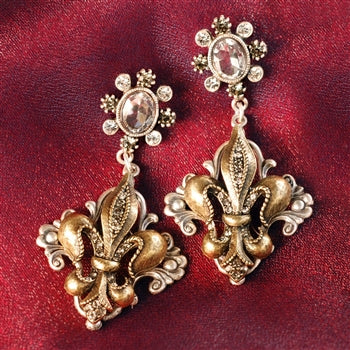 French Fleur De Lis Earrings E1121 - sweetromanceonlinejewelry