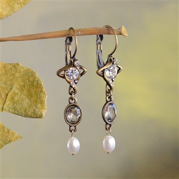 Crystal & Pearl Nouveau Drop Earrings