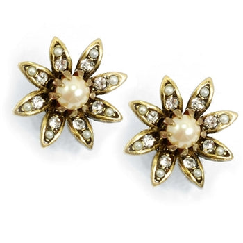Daisy Pearl Flower Wedding Earrings E1128 - sweetromanceonlinejewelry