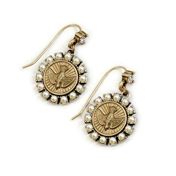 Holy Spirit Pearl Bird Coin Earrings E1169 - sweetromanceonlinejewelry