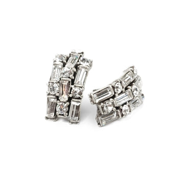 Art Deco Crystal Half Hoop Earrings
