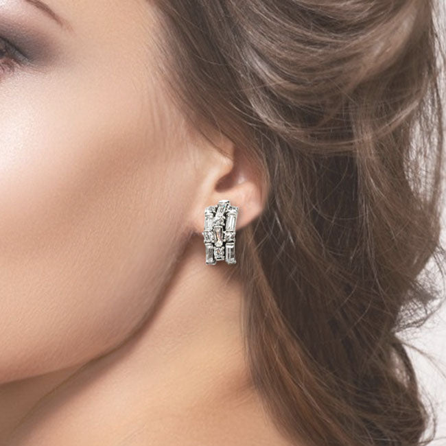 Art Deco Crystal Half Hoop Earrings E1177
