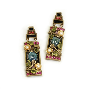 Art Deco Chinese Rose Screen Vintage Earrings E1199 - sweetromanceonlinejewelry