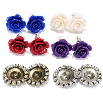 Interchangeable Carved Roses Earrings Set E1211