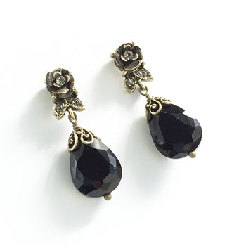 Crystal Rose Earrings - Jet