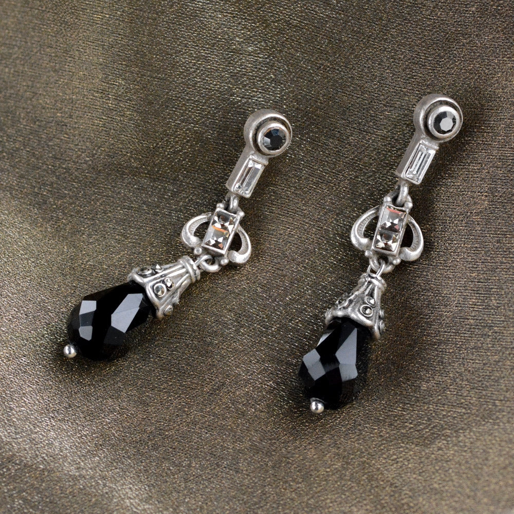Art Deco Black and Silver Drop Earrings E1223 - sweetromanceonlinejewelry
