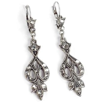 Art Deco Vintage Arabesque Silver Wedding Earrings E1226 - sweetromanceonlinejewelry
