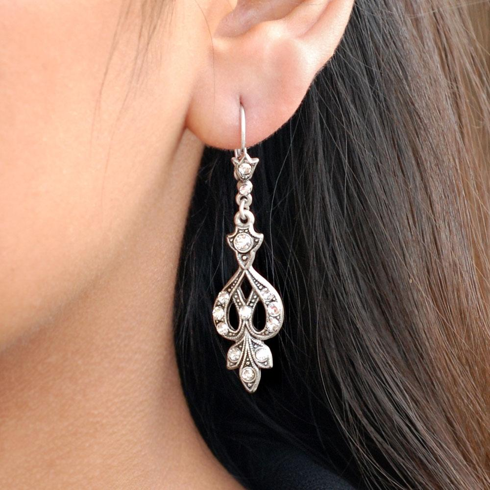 Art Deco Vintage Arabesque Silver Wedding Earrings E1226