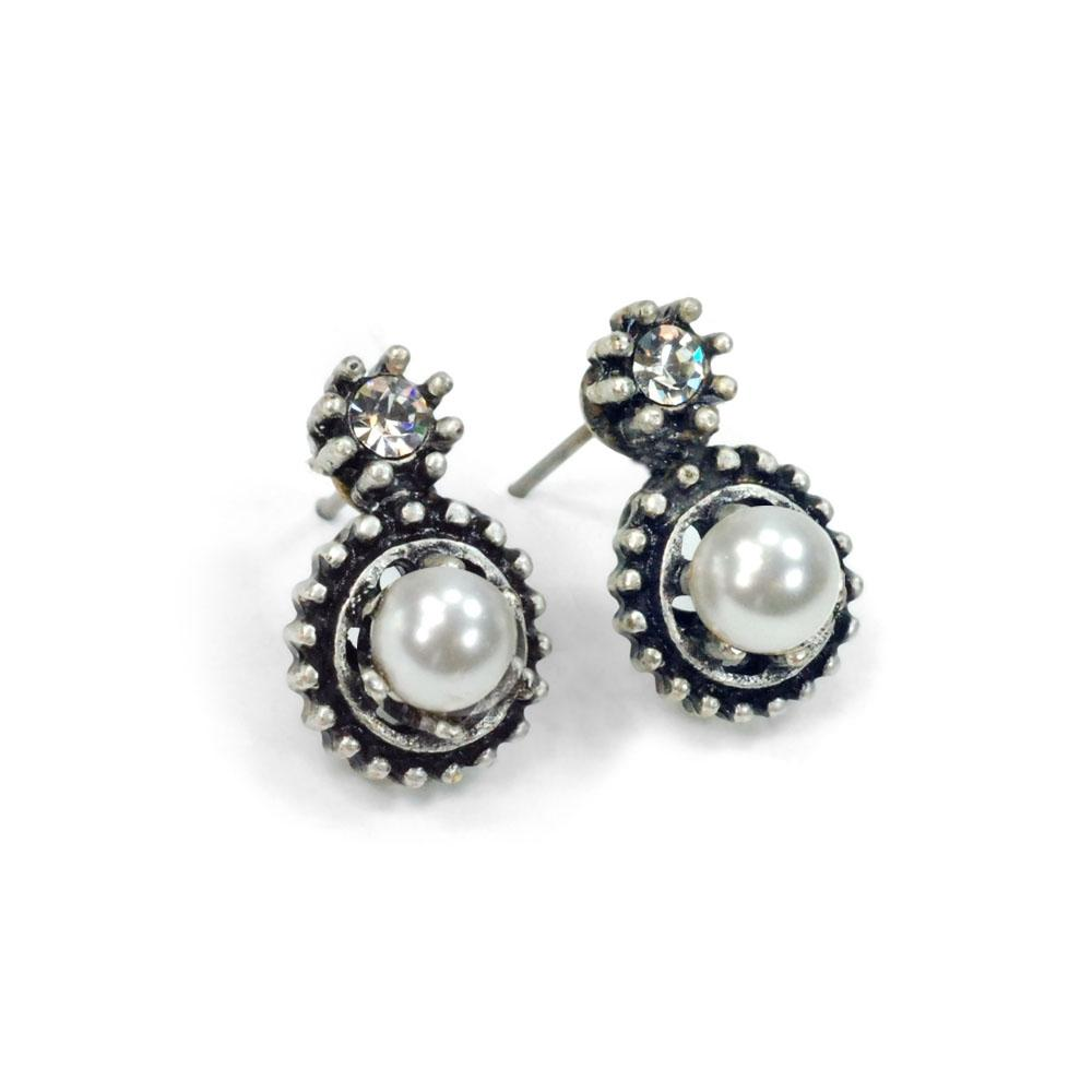 Double Stone Crystal Stud Earrings E1247 - SP - Silver Pearl