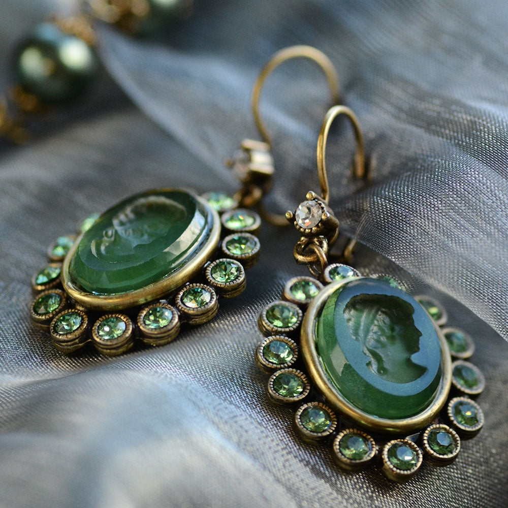Forest Green Intaglio Earrings E1268 - sweetromanceonlinejewelry