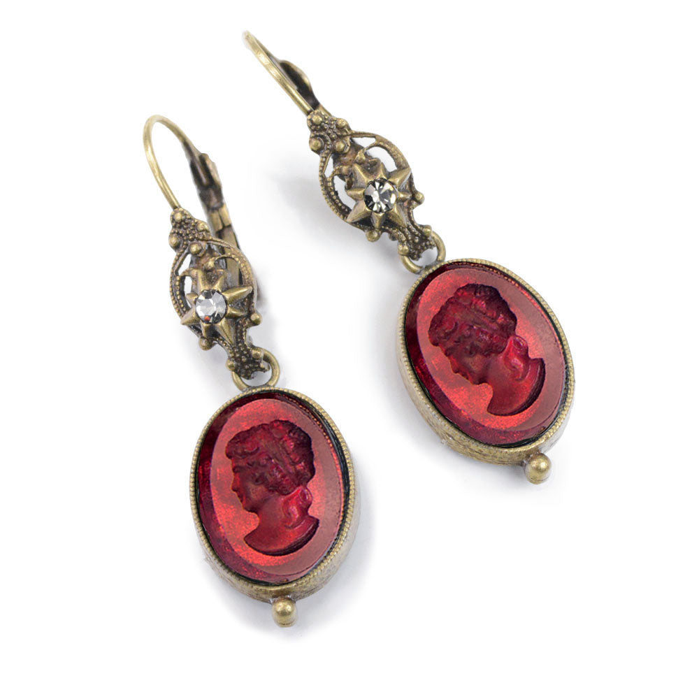 Faceted Glass Intaglio Dangle Earrings E1276 - sweetromanceonlinejewelry