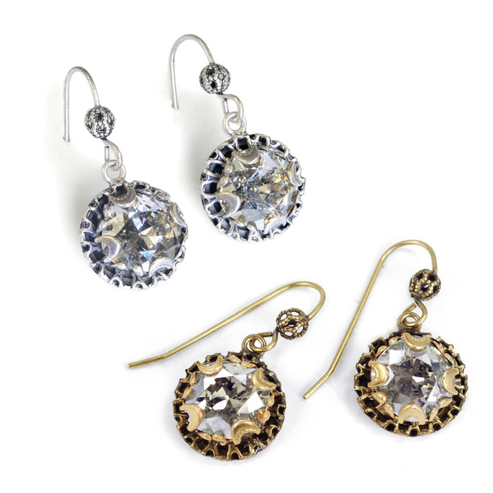 Crystal Dot Earrings E1297 - Silver - SS - Silver Shade