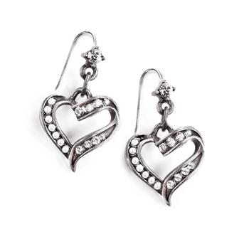 Crystal and Pearl Heart Earrings E1325 - sweetromanceonlinejewelry