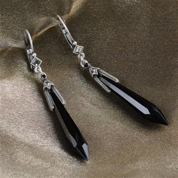 Art Deco Vintage Black Jet Prism Crystal Drop Earrings
