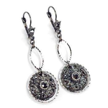 Window to the Soul Vintage Medallion Earrings E1338 - sweetromanceonlinejewelry