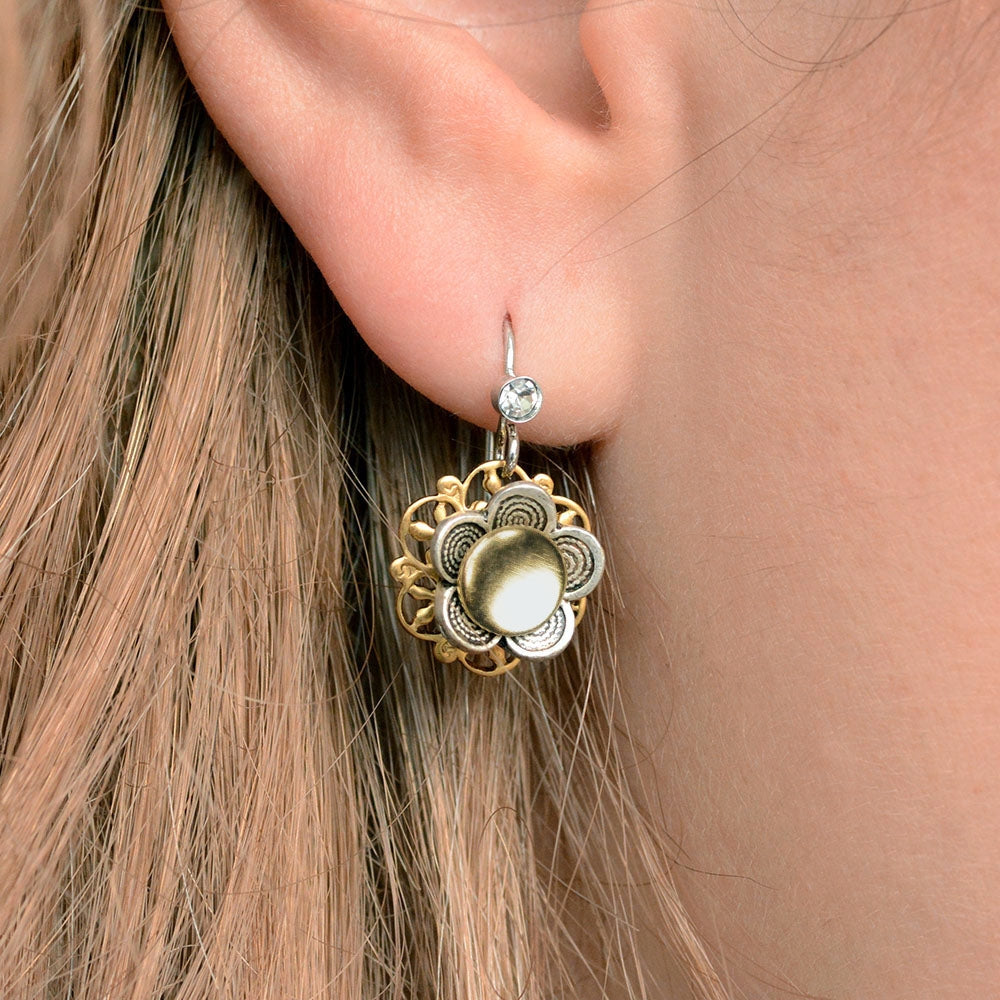Two Tone Flower Dangle Earrings E1354 - sweetromanceonlinejewelry