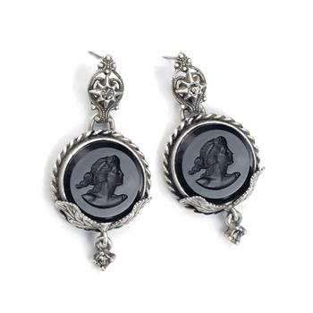 Delphine Round Intaglio Earrings E1369 - sweetromanceonlinejewelry