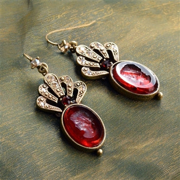 Crystal Fan Oval Intaglio Earrings