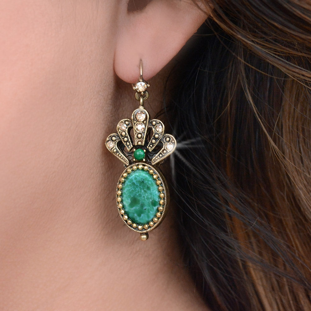 Crystal Fan Oval Intaglio Earrings E1374 - sweetromanceonlinejewelry