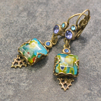 Millefiori Vintage Square Earrings E1382