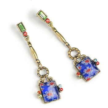 Millefiori Glass Square Drop Earrings E1384 - sweetromanceonlinejewelry