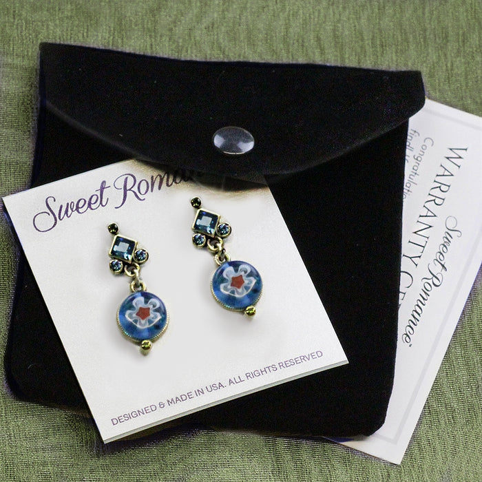 Millefiori Glass Round Candy Earrings E1386