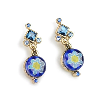 Millefiori Glass Round Candy Earrings E1386 - sweetromanceonlinejewelry
