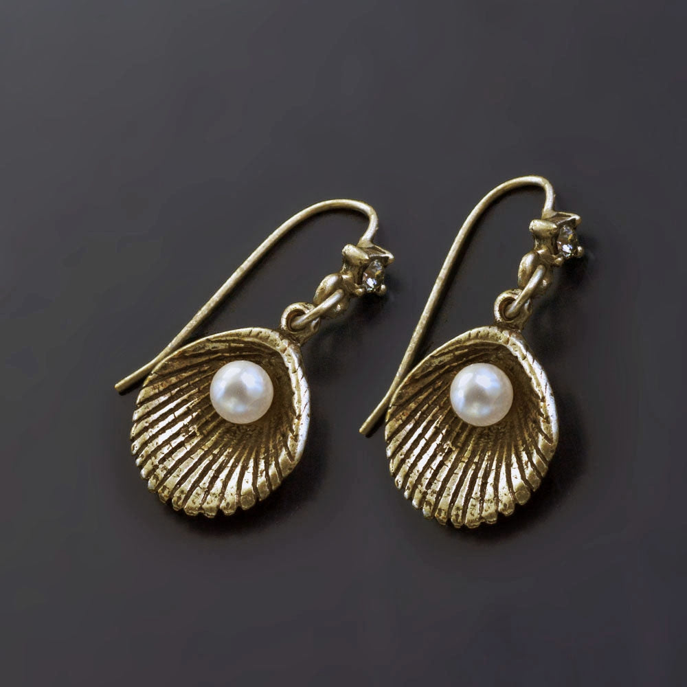Seashell and Pearl Earrings E1423 - sweetromanceonlinejewelry