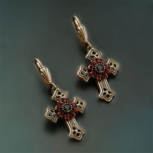 Load image into Gallery viewer, Victorian Black Cross Earrings E1443