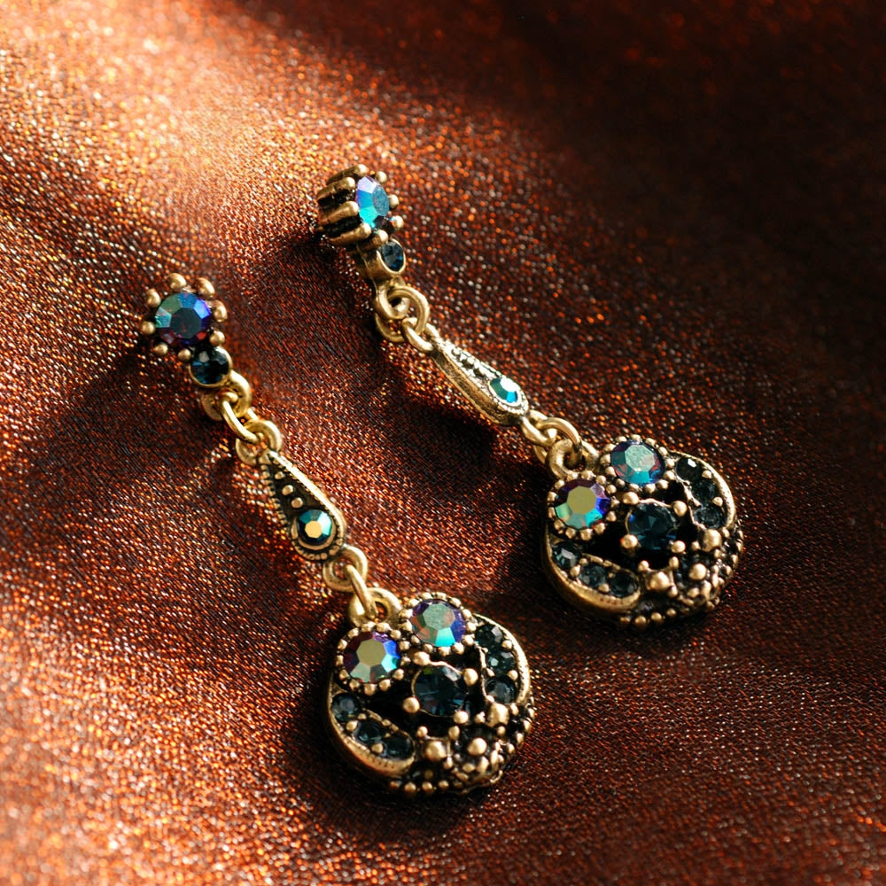 Harlequin Peacock Earrings E151-PK - sweetromanceonlinejewelry