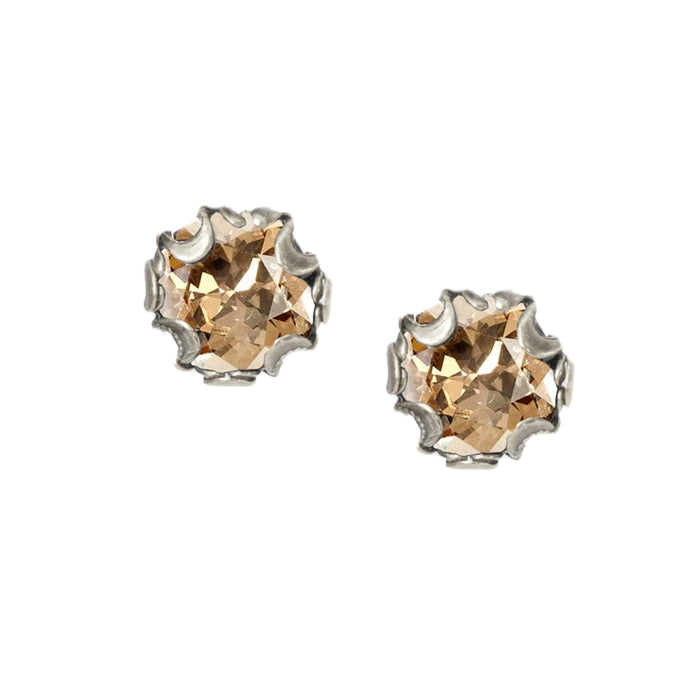 Birth Month Cushion Cut Stud Earrings E1982-SIL-GS