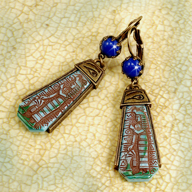 Art Deco Blue Goddess Egyptian Vintage Czech Glass Earrings E305