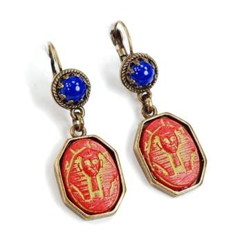 Art Deco EgyptianPharaoh Vintage Czech Glass Earrings E306