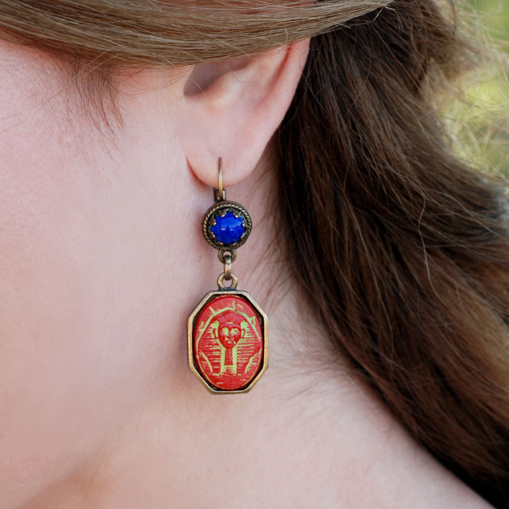 Art Deco Egyptian Pharaoh Vintage Czech Glass Earrings E306