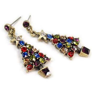 Jewel Tree Christmas Crystal Earrings