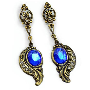 Victorian Curves and Crystal Earrings E416