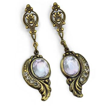 Victorian Curves and Crystal Earrings E416 - sweetromanceonlinejewelry