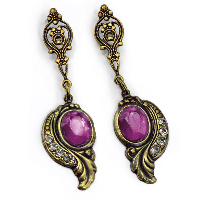 Victorian Curves and Crystal Earrings E416-AM