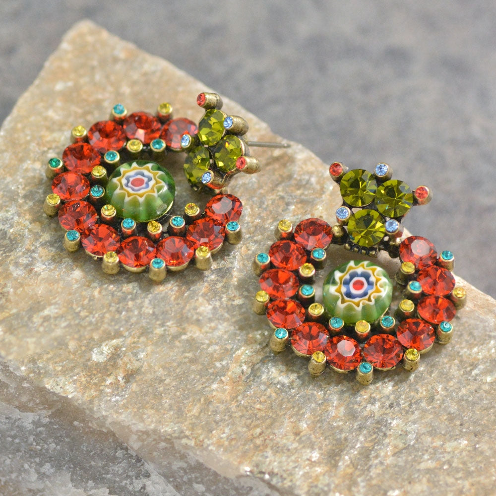 Crystal Caterpillar and Millefiori Glass Statement Earrings E501 - sweetromanceonlinejewelry