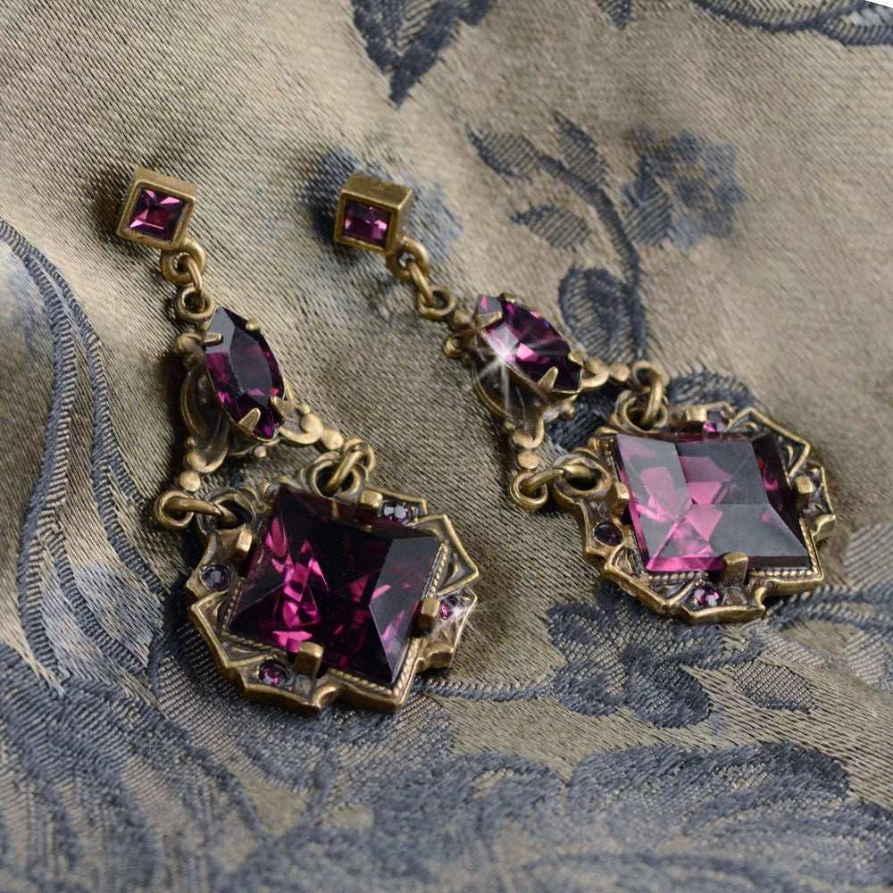Art Deco Emerald Amethyst Vintage Squares Earrings E540-AM