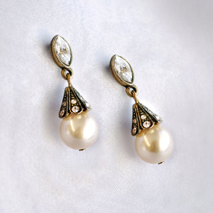 Art Deco Vintage Pearl Wedding Earrings