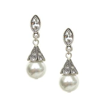 Art Deco Vintage Pearl Wedding Earrings E541 - sweetromanceonlinejewelry