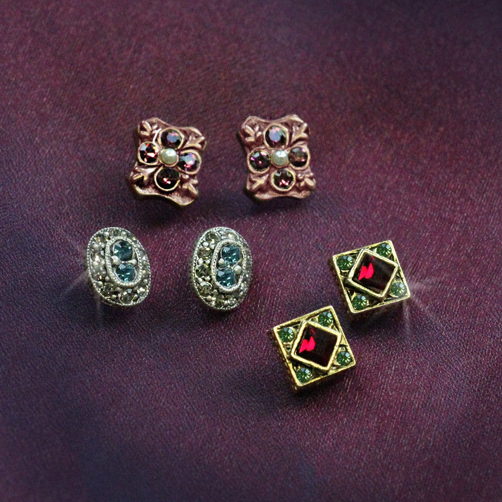 Canterbury Earring Trio Set of 3 E636 - sweetromanceonlinejewelry