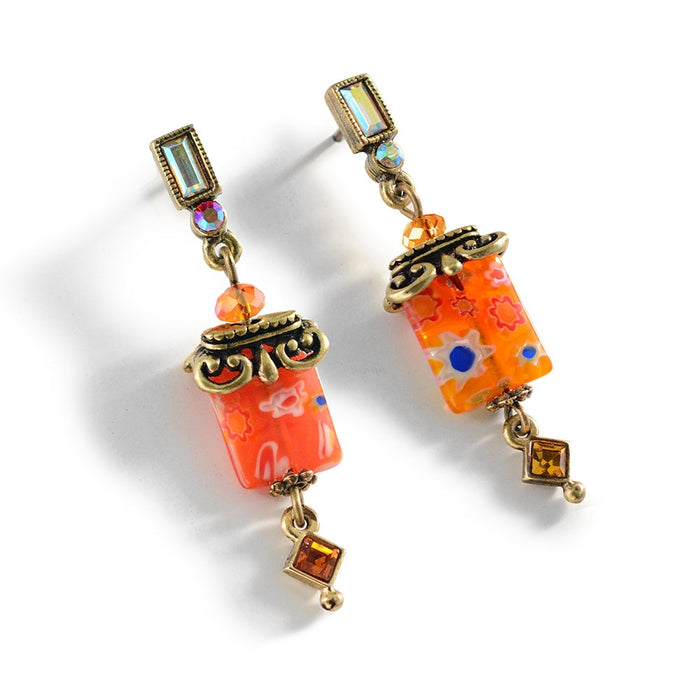 Millefiori Glass Candy Square Deco Earrings E720