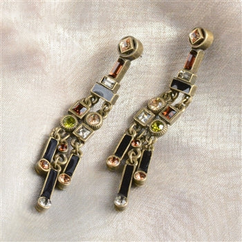 Art Deco Crystal Enamel Fringe Earrings