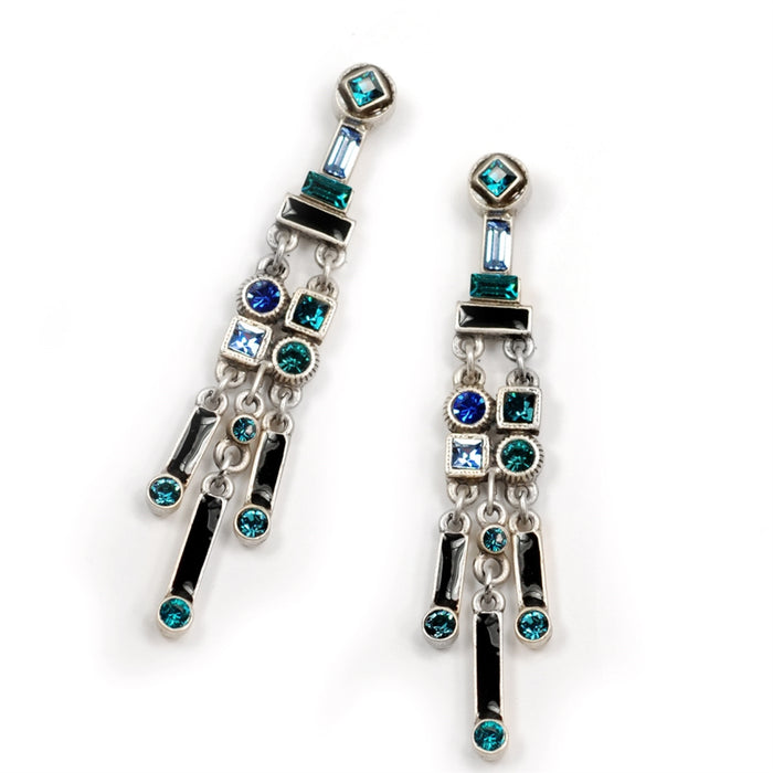 Art Deco Crystal Enamel Fringe Earrings - BL - Blue