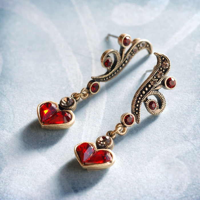 Garnet Hearts Earrings E947-GA