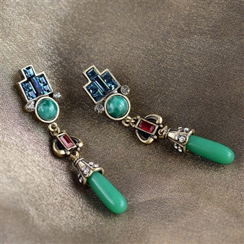 Art Deco Vintage Jade Glass Earrings E9522 - sweetromanceonlinejewelry