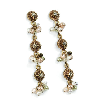 Crystal and Pearls Drop Earrings E982